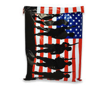12x15.5 inch USA Flag Soldier Poly Mailers, Patriotic Self Sealing Shipping Bags, Design, Military Mailing Envelopes, Red White Blue 12x15