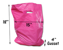 "3 Sizes, 30 Pack Plastic Merchandise Bags, 9x12, 12x15, 15x18x4"" Pink, Teal, Blue, Lime, Purple, Black Assorted Gift Combo w/Die Cut Handles"
