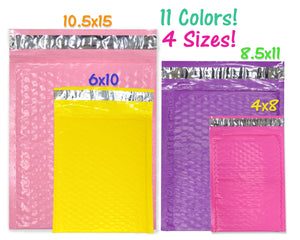 30 Pack Poly Bubble Mailers, Pink, Purple, Teal Green, Pastel, Purple, Yellow, Red, Orange Waterproof Protective Self Seal Mailing Shipping