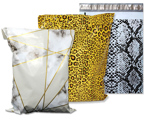 10x13 Inch Poly Mailers, Leopard, Snakeskin, Marble Combo Print Animal Design, Pattern Self Sealing Mailing Shipping Bags, Flat Envelopes