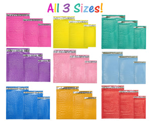 All 3 Sizes! 4x8, 6x10 8x12 Colored Poly Bubble Mailers, Pink, Purple, Teal Green, Pastel Colored Bubble Padded Shipping Mailing Envelopes