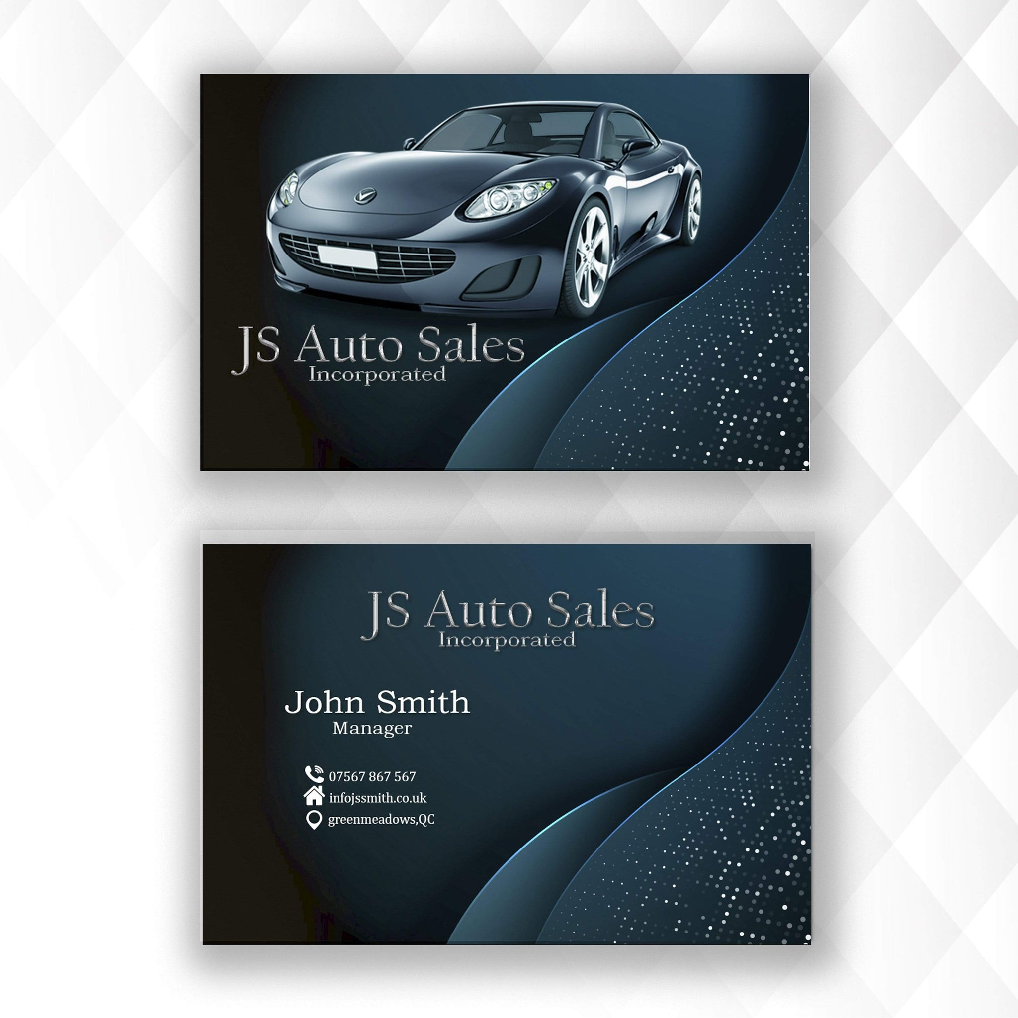 Personalised Business Card Car Sales Theme | Car Design for