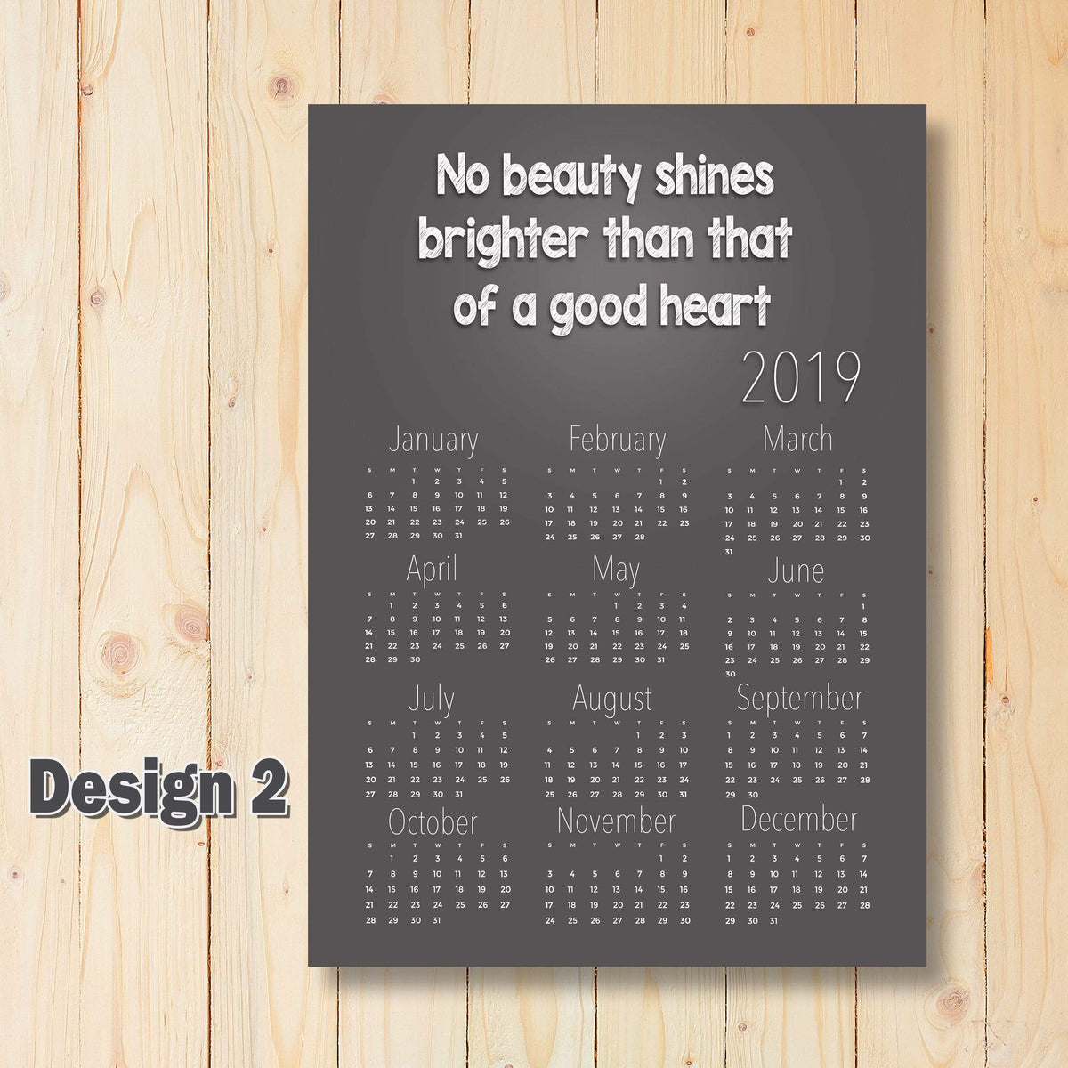 Personalised Yearly Monthly Calendar Quote Theme | Any Year 2019 | A5 A4 A3