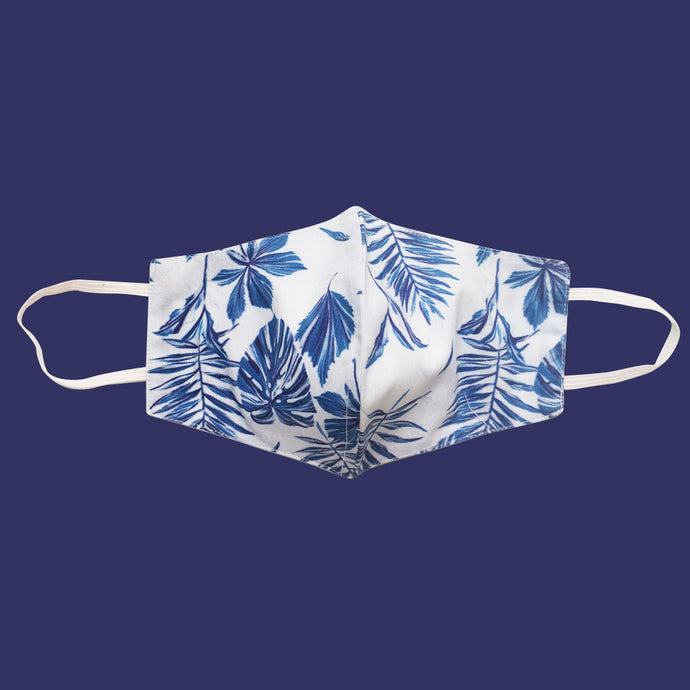 Blue Tropical Leaves Face Mask