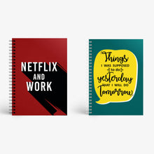 Load image into Gallery viewer, Notebook Set Of 2 - Netflix And Work and Procrastination