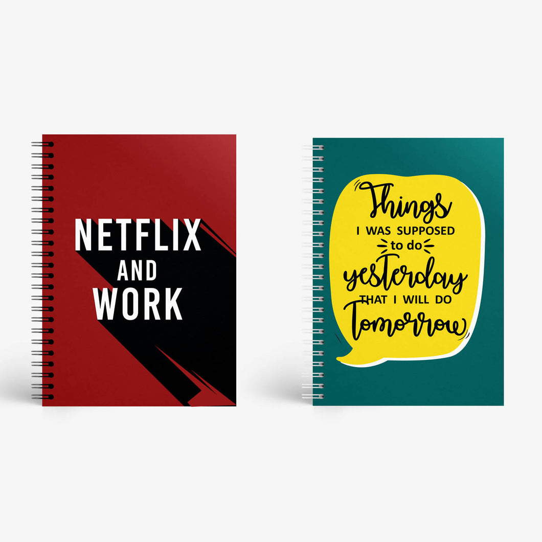 Notebook Set Of 2 - Netflix And Work and Procrastination