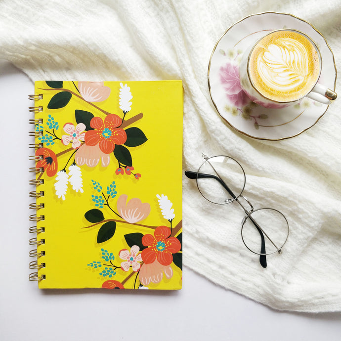 Floral Fantasy Notebook - Yellow - Nautankishaala