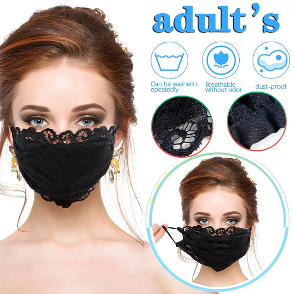 Thin breathable ice silk lace embroidery mask