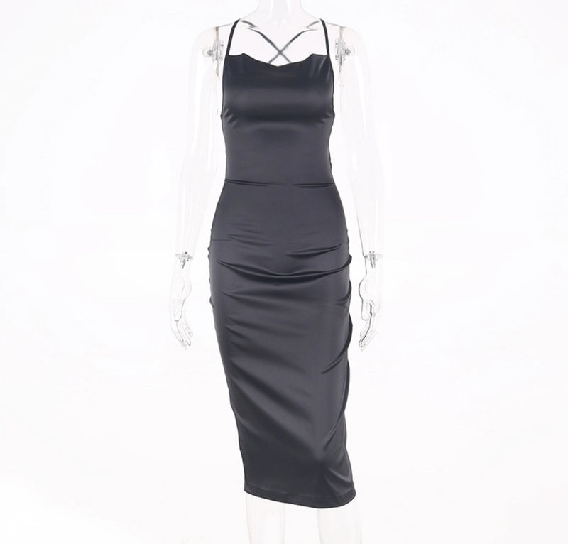 Criss-Cross Strapless Midi Dress