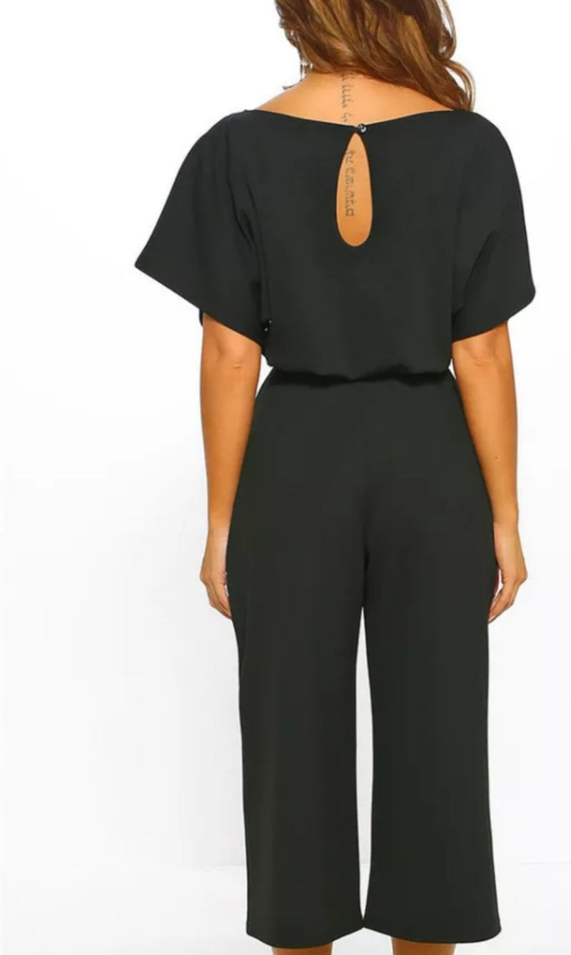 """On-The-Go"" 3/4 Sleeve Casual Wide Leg Playsuit"