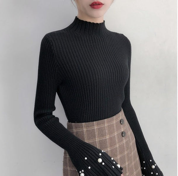 Pearl Beaded Mock Neck Top