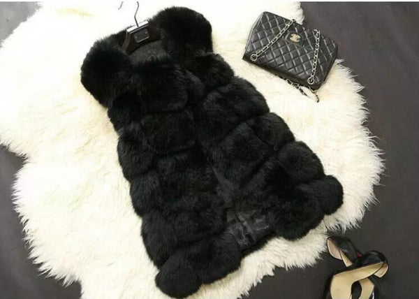 Quilted Faux Fur Vest