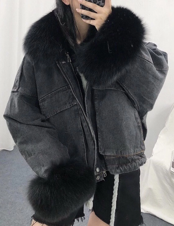 Oversized Detachable Faux Fur Denim Jacket