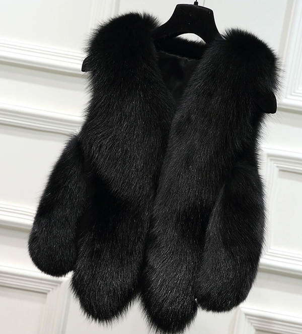 Long Fluffy Plush Faux Fur Vest