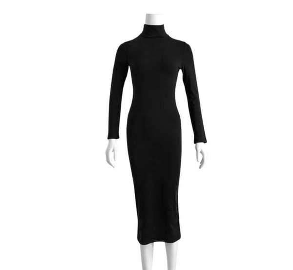 Long Sleeve Fleece-Lined Turtleneck Bandage Dress