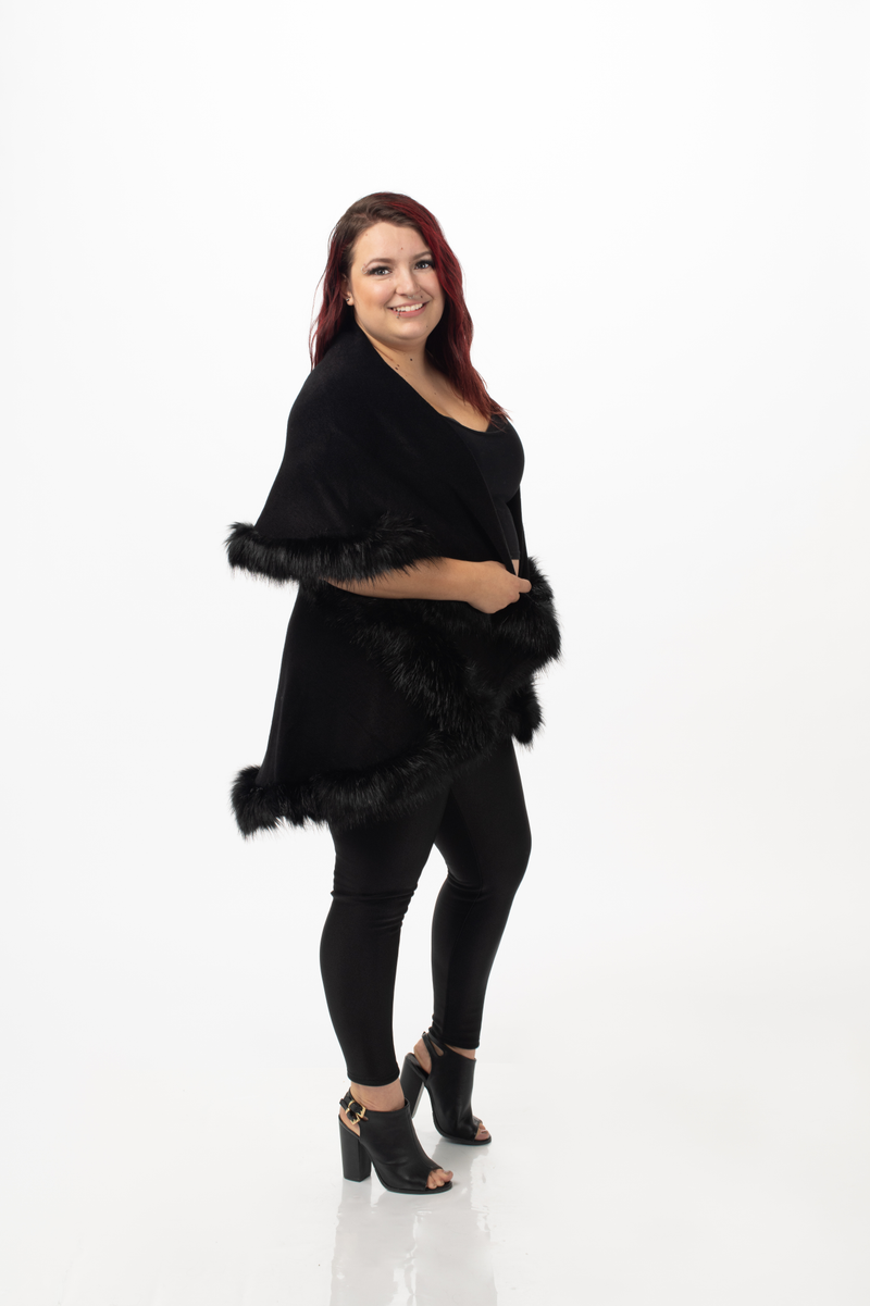 Faux Fur Cardigan Sweater Cape Shawl