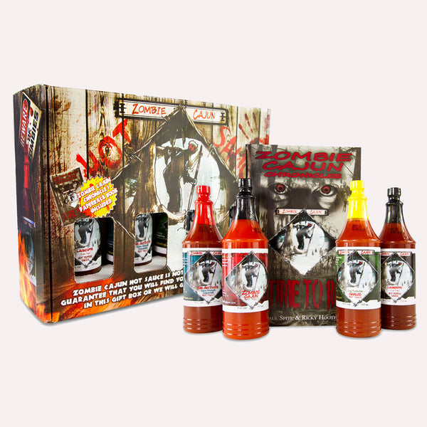 Zombie Cajun Hot Sauce Gift Set, Gourmet Basket Includes 4 (6oz) Bottles of the Best Louisiana Hot Sauce - Plus a Zombie Gifts Book