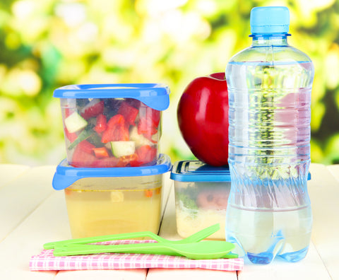 water bottle, healthy snacks