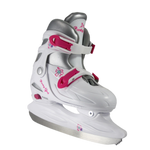 Girl's Party Girl Adjustable Hard Shell White & Pink Hockey Skate