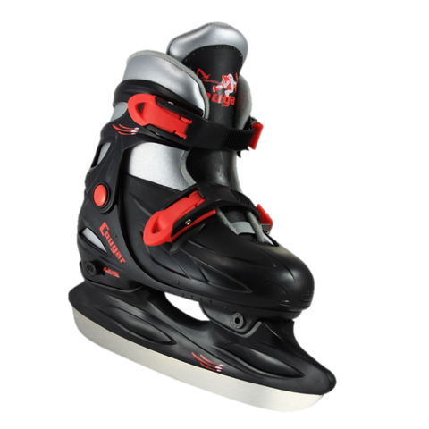 Boy's Cougar Adjustable Hard Shell Black & Red Hockey Skate
