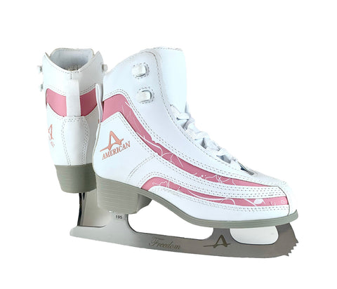 Girl's Softboot Ice Skate with Pink Trim