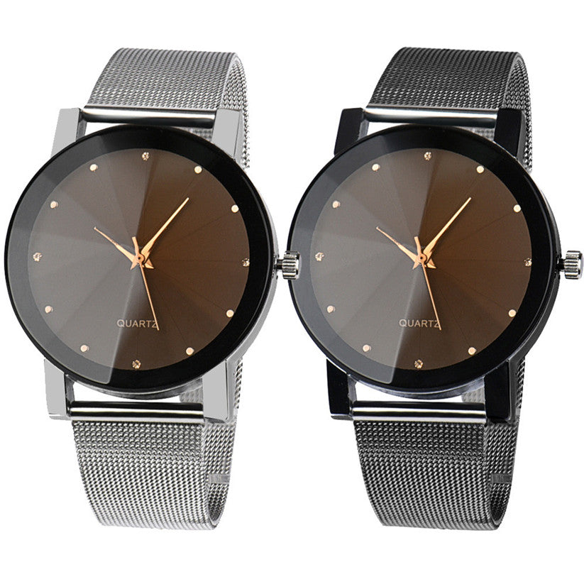Analog Wrist Crystal Stainless Steel Quartz Watch