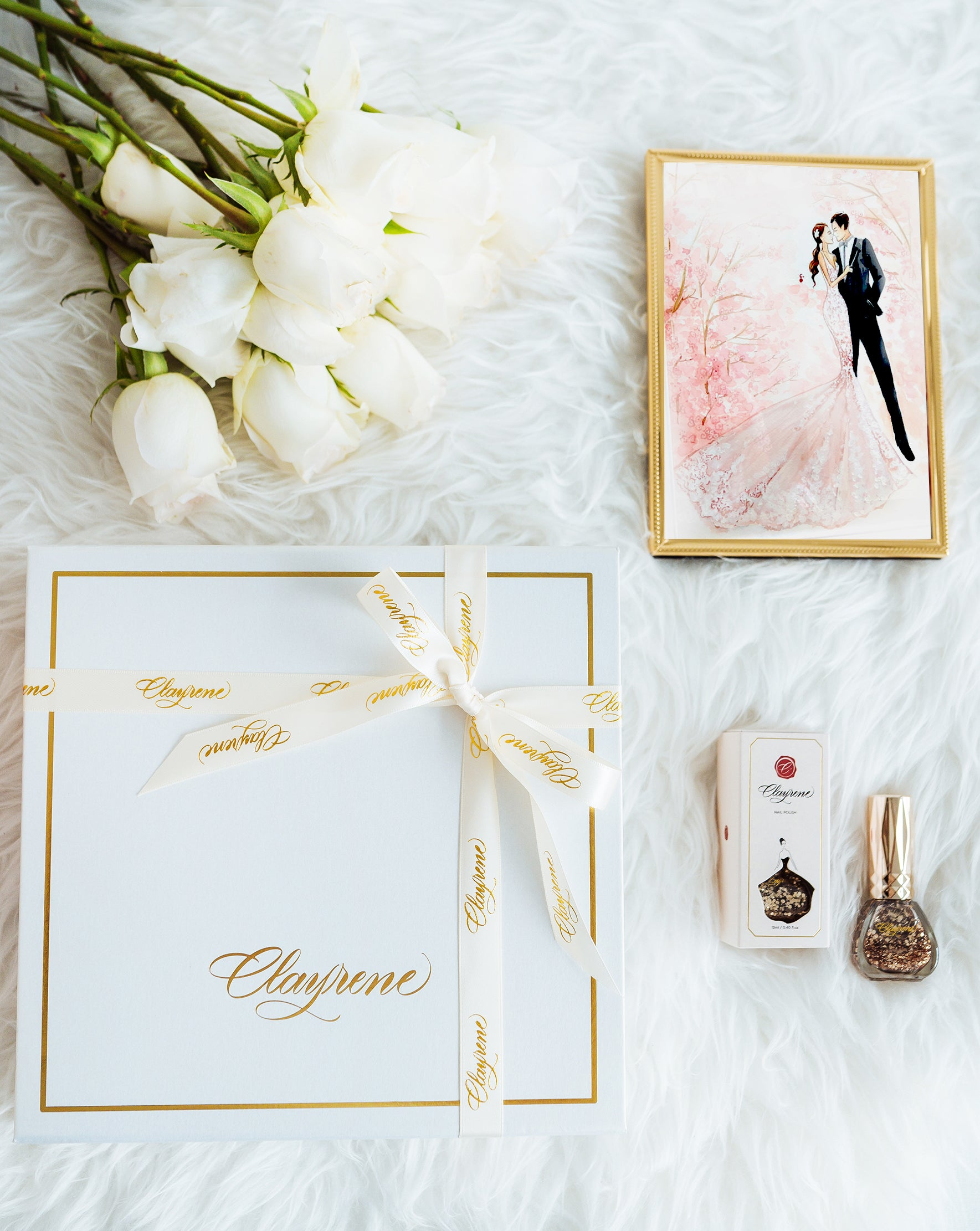 Full Custom Wedding Portrait Illustration (Couple) l Limited Edition Luxury Clayrene Gift Box Set