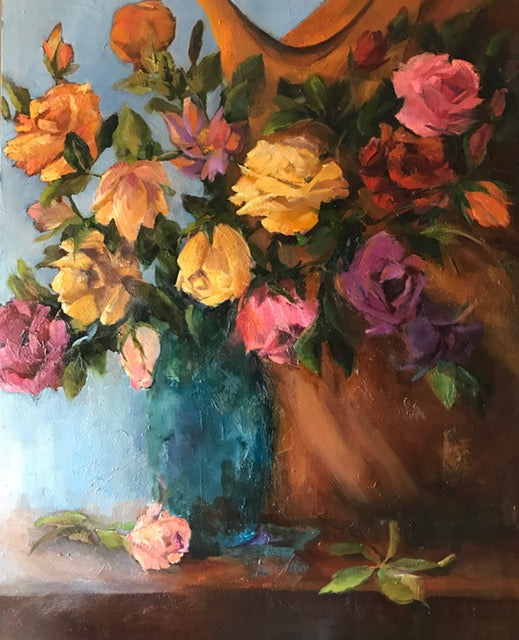 """Abundance of Roses"", 24 x 30 x 2 inches"