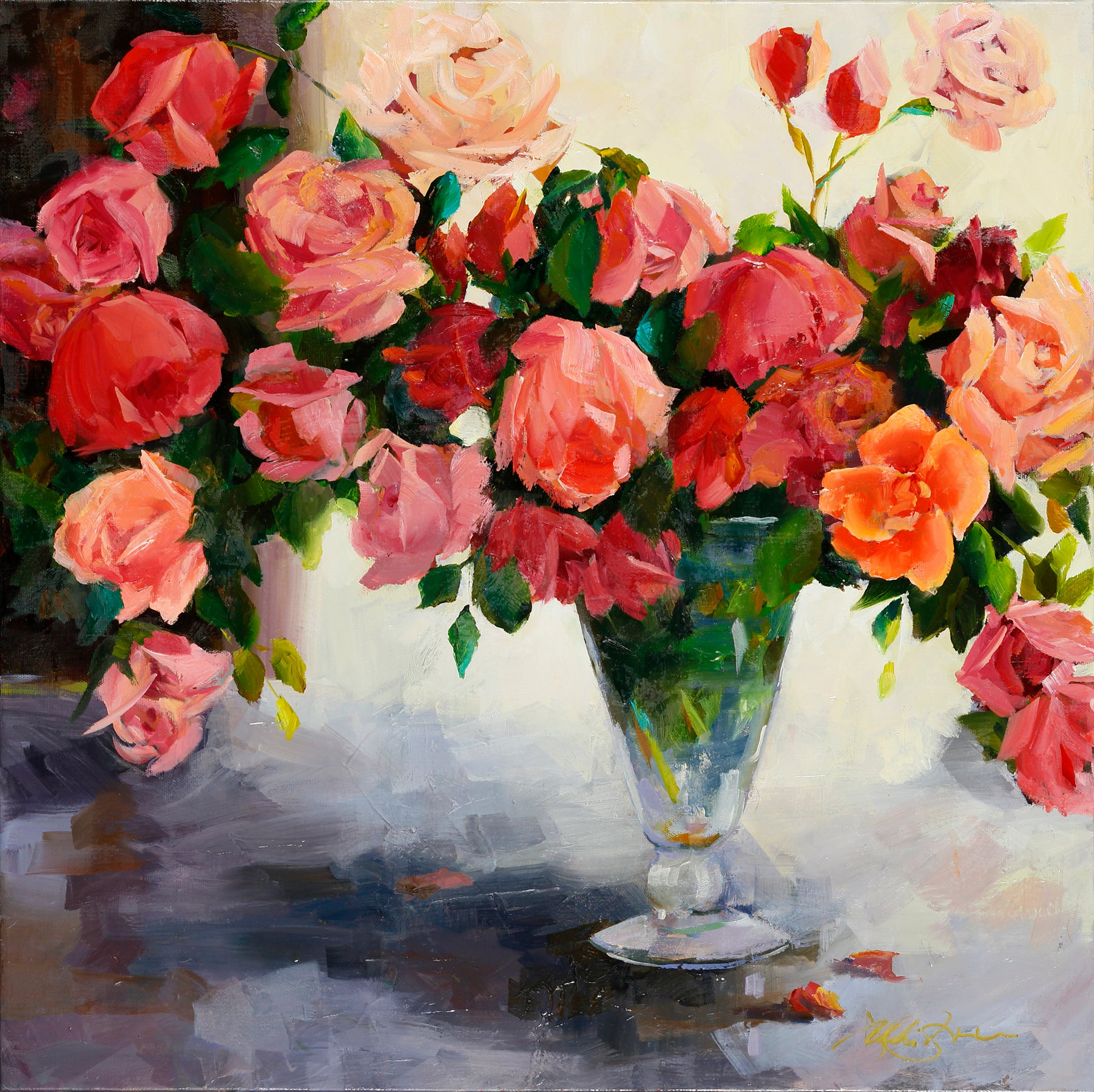 """A Profusion of Roses"", 24 x 24 x 2 inches"