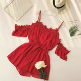 2018 fashion Women Bohemian lace stitching chiffon strapless trumpet sleeve Lacing waist wide leg jumpsuit