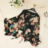 Women's Bohemian Drawstring Blouses 2018 Big Flare Sleeve Blouses Ruffles Short Shirt Female Streetwear Chic Blusas V Neck Tops