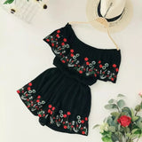 New Collection Summer Bohemian Women Casual Beach Embroidery Flower Ruffles Loose Wide Leg Shorts Playsuits Ladies Playsuits