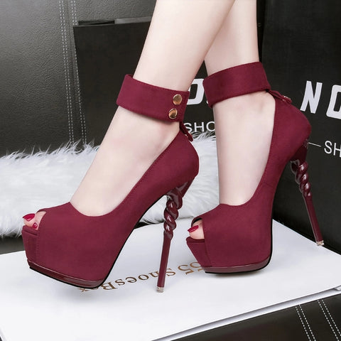 Fashion Women's Shoes Super High Heels with Platform Sexy Shoes Flock Female Pumps Party Shoes Anklets Spike Heels 5 Colors