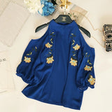 2018 Spring Summer New Women Sexy Strapless Halter Chiffon Shirt Embroidery Loose Thin Crop Tops Ladies Elegant Blouses