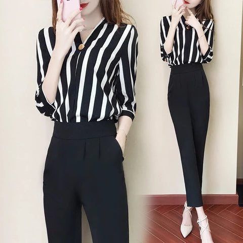 2018 New Summer Women 2 Pieces Set Striped Print 3/4 Sleeve Tops+Trousers Fashion Casual Female Suit Plus Size Streetwear