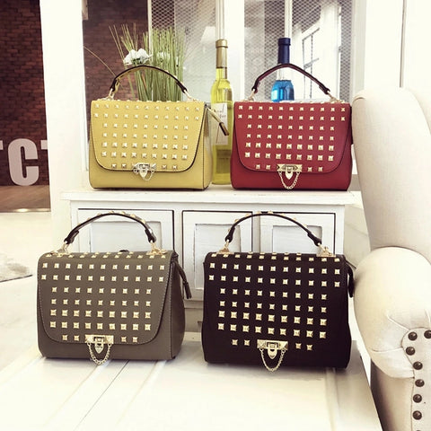 Punk Fashion Rivet Women Crossbody Bag Pu Leather Tote Bag Designer Handbags High Quality Ladies Hand Bags Sac A Main Femme
