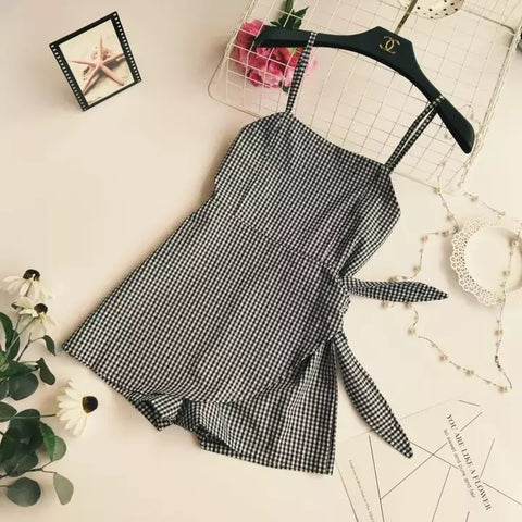 Women Sleeveless Playsuits Rompers Plaid Asymmetrical Elegant Shorts One Piece Female 2018 Summer Casual Sweet Girls Playsuits
