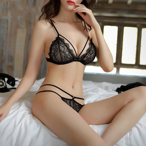 Ultra-thin Sexy Bra Set Eyelash Lace Transparent Bralette Bikini Wireless Triangle Brassiere And G Strings Women Underwear Set