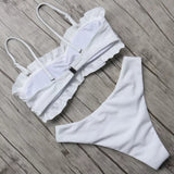 ruffles bikinis women sexy bandeau swimwear female white bikini set thong swimming suit push up bathing suit solid swimsuits