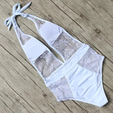 Lace One Pieces Swimsuit Women Padded Sexy Swimwear Push Up Monokini Halter Bathing Suit Deep V Neck Beachwear Hollow Swim Wear