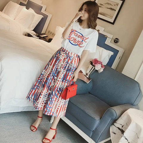 New Fashion Summer Women 2 Pieces Set Letter Print White Blouse Tops and Floral Skirt Casual Female Suit Streetwear