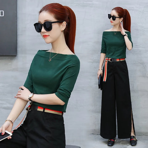 Spring Summer Women 2 Two Piece Set Fashion Korea Style Petal Sleeve Tops+Wide Leg Pants Elegant Office Casual Female Pants Set