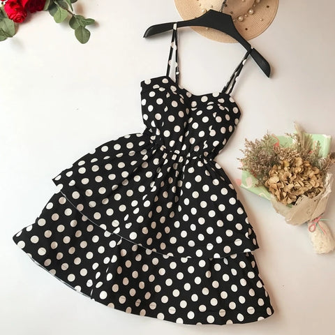 2018 Summer Women Fashion Low Cut Chest Pad Dot Spaghetti Strap Party Mini Dress Ladies Retro Cascading Ruffles Princess Dress