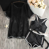 2018 Real South Beach Sports Sexy Small Chest Belly Mesh Loose Blouse Covered Gather Three Piece Swimsuit Female Boxer Split