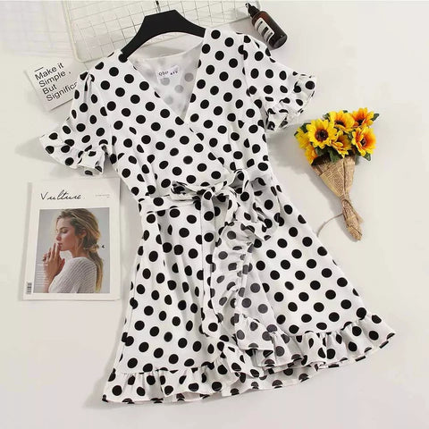 New Vintage Summer Ladies Casual Chiffon A-line Dot Half Flare Sleeves Drawstring Bowknot Dress Women Leisure Ruffles Dress