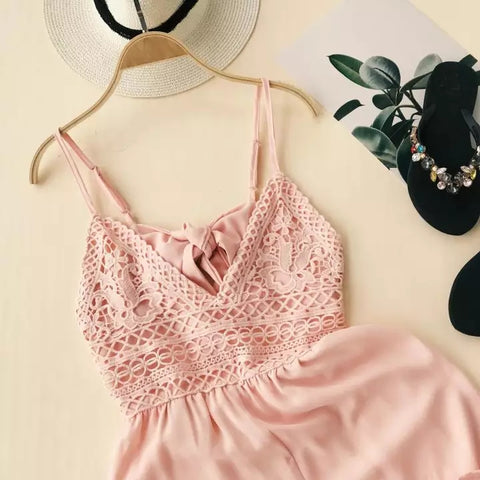 Euro Summer Ladies Fashion Chiffon Low Cut Crochet Strap Playsuits Women Sexy Backless Drawstring Romper Overalls Jumpsuits
