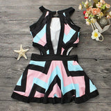 2017 Sexy Striped One-piece Dress Monokini Plus Size Women Padded Swimsuit Bathing Suit Swimwear pink black red color Beach wear