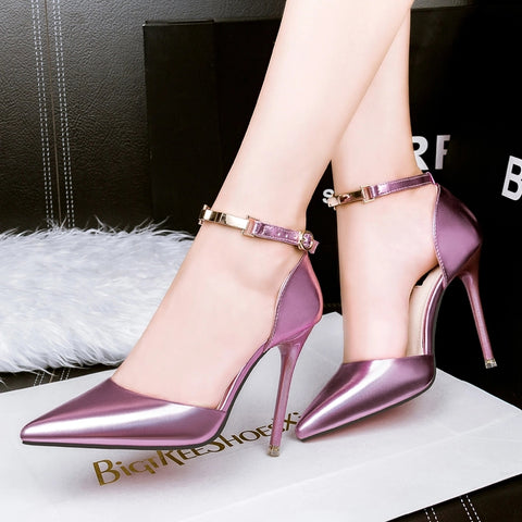 Sexy High Heels Women's Shoes Pointed Toe Thin Heels Women's Pumps Elegant Female Japanned Leather Shallow Mouth Female Sandals