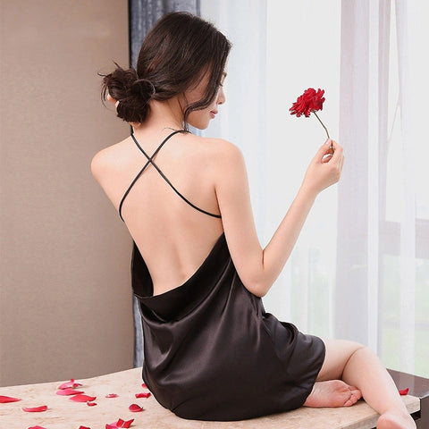 2018 New Arrival Sexy Lingerie Nightdress Women Girl Silk Robe Dress Halter Cross Sling Pure Elegance Nightgown Ladies Sleepwear