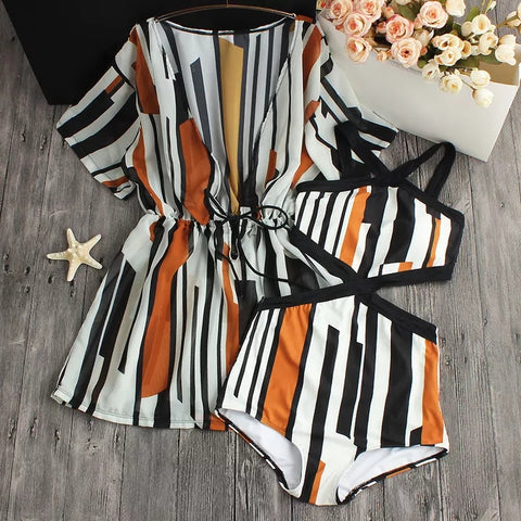 2018 Sexy One Piece Swimsuit Dress Striped Printed High Waist Swimwear Women Cut Out Bodysuit Bathing Suits Monokinis